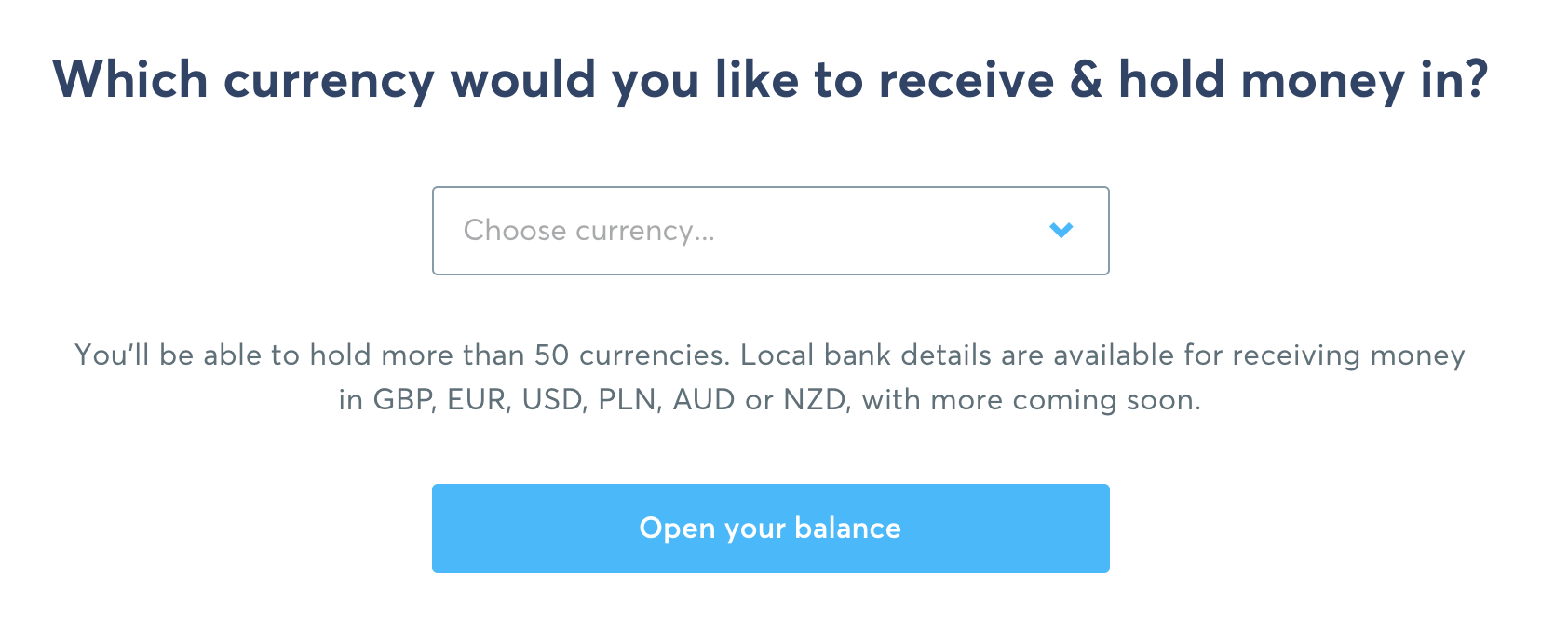 TransferWise Opening A New Balance